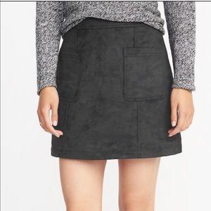 Suede black skirt